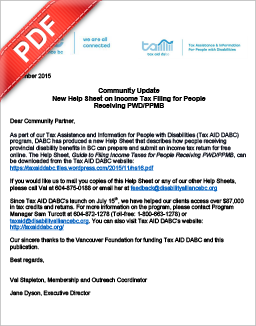 PDF Document: New DABC Help Sheet: Guide to Filing Income Taxes for People Receiving PWD/PPMB