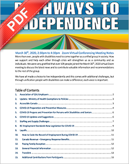 PDF Document: PATHWAYS TO INDEPENDENCE PEER GROUP MARCH 30th, 2020 MEETING NOTES